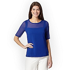 Betty Jackson.Black - Designer royal blue jersey panel top
