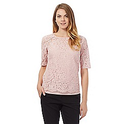 Betty Jackson.Black - Pale pink lace overlay top