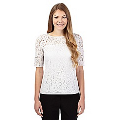 Betty Jackson.Black - Pale grey lace overlay top