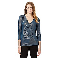 Betty Jackson.Black - Turquoise metallic jersey top