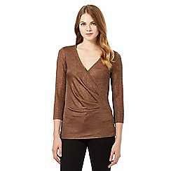 Betty Jackson.Black - Bronze metallic jersey top