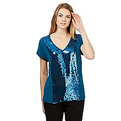 Betty Jackson.Black - Dark turquoise sequin panel top