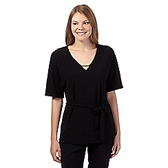 Betty Jackson.Black - Black kimono metal neck detail top