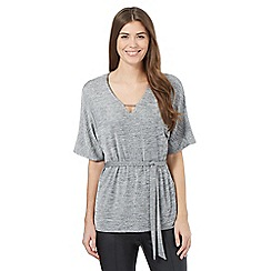 Betty Jackson.Black - Light grey kimono metal neck detail top