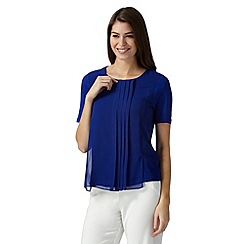Betty Jackson.Black - Designer royal blue centre pleat front top