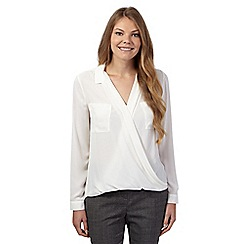 Betty Jackson.Black - Ivory wrap front crepe shirt