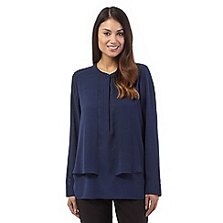 Betty Jackson.Black - Navy long sleeve overlay blouse