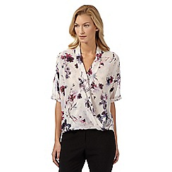 Betty Jackson.Black - Designer ivory floral wrap shirt