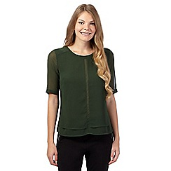 Betty Jackson.Black - Dark green layered chiffon top