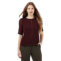 Betty Jackson.Black - Dark red layered chiffon top