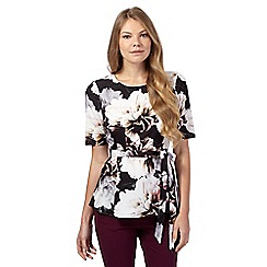 Betty Jackson.Black - Black graphic floral tie waist top
