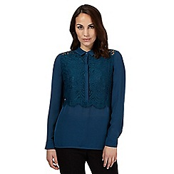 Betty Jackson.Black - Turquoise lace detail buttoned shirt