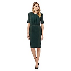 Betty Jackson.Black - Dark green pleat front dress