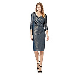 Betty Jackson.Black - Turquoise metallic jersey dress