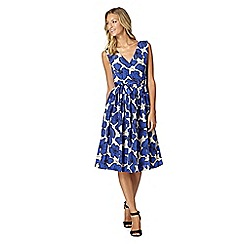Betty Jackson.Black - Designer royal blue poppy print dress