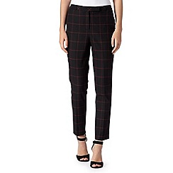 Betty Jackson.Black - Designer dark pink checked trousers