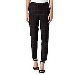 Betty Jackson.Black - Designer dark pink checked trousers