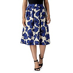 Betty Jackson.Black - Designer royal blue poppy print skirt