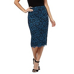 Betty Jackson.Black - Blue floral lace detail skirt