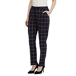 Betty Jackson.Black - Navy checked slim leg trousers