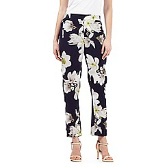 Betty Jackson.Black - Navy magnolia print trousers