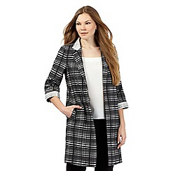 Betty Jackson.Black - Black checked print coat