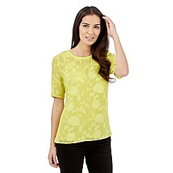 Betty Jackson.Black - Lime floral burnout top
