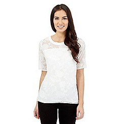 Betty Jackson.Black - Ivory floral burnout top