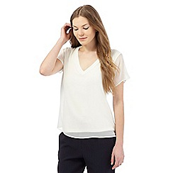Betty Jackson.Black - Ivory short-sleeved crepe jersey top
