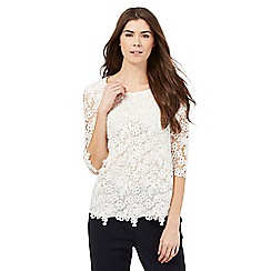 Betty Jackson.Black - White lace shell top