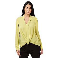 Betty Jackson.Black - Lime front wrap shirt