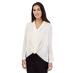 Betty Jackson.Black - Ivory front wrap shirt