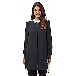 Betty Jackson.Black - Navy colour block shirt
