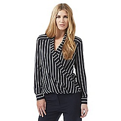 Betty Jackson.Black - Navy striped wrap shirt