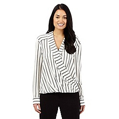 Betty Jackson.Black - Ivory striped wrap shirt