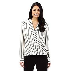 Betty Jackson.Black - Ivory striped wrap shirt