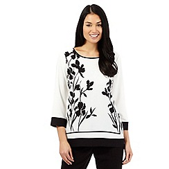 Betty Jackson.Black - Ivory floral print top