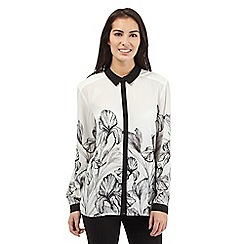 Betty Jackson.Black - Ivory iris printed shirt