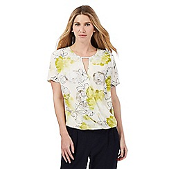 Betty Jackson.Black - Green floral print wrap around-effect top
