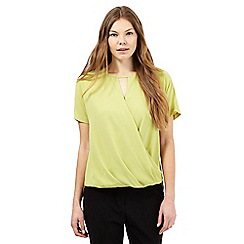 Betty Jackson.Black - Lime wrap shirt