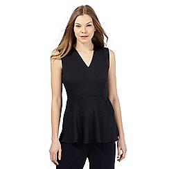 Betty Jackson.Black - Navy sleeveless V-necked satin top