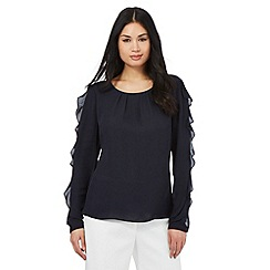 Betty Jackson.Black - Navy frill trim top