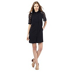 Betty Jackson.Black - Navy lace trim shirt dress