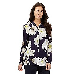 Betty Jackson.Black - Blue magnolia print blouse