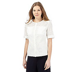Betty Jackson.Black - Ivory short-sleeved Broderie Anglaise shirt