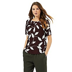 Betty Jackson.Black - Ivory leaf print shell top