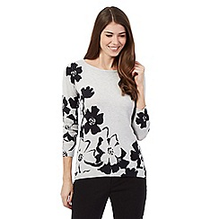 Betty Jackson.Black - Light grey floral placement print jumper