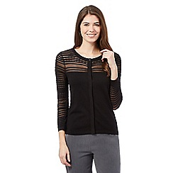 Betty Jackson.Black - Black sheer textured stripe cardigan