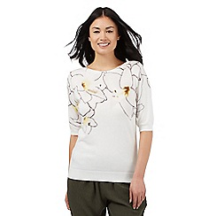 Betty Jackson.Black - Ivory tropical printed jumper