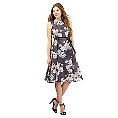 Betty Jackson.Black - Navy burnout stripe floral prom dress